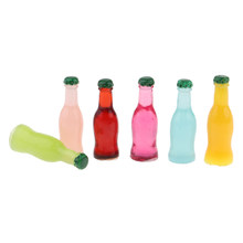 12pcs Colorful Cocktail Bottles 1:12 Scale Dolls House Miniature Bar Pub Accessaries(China)