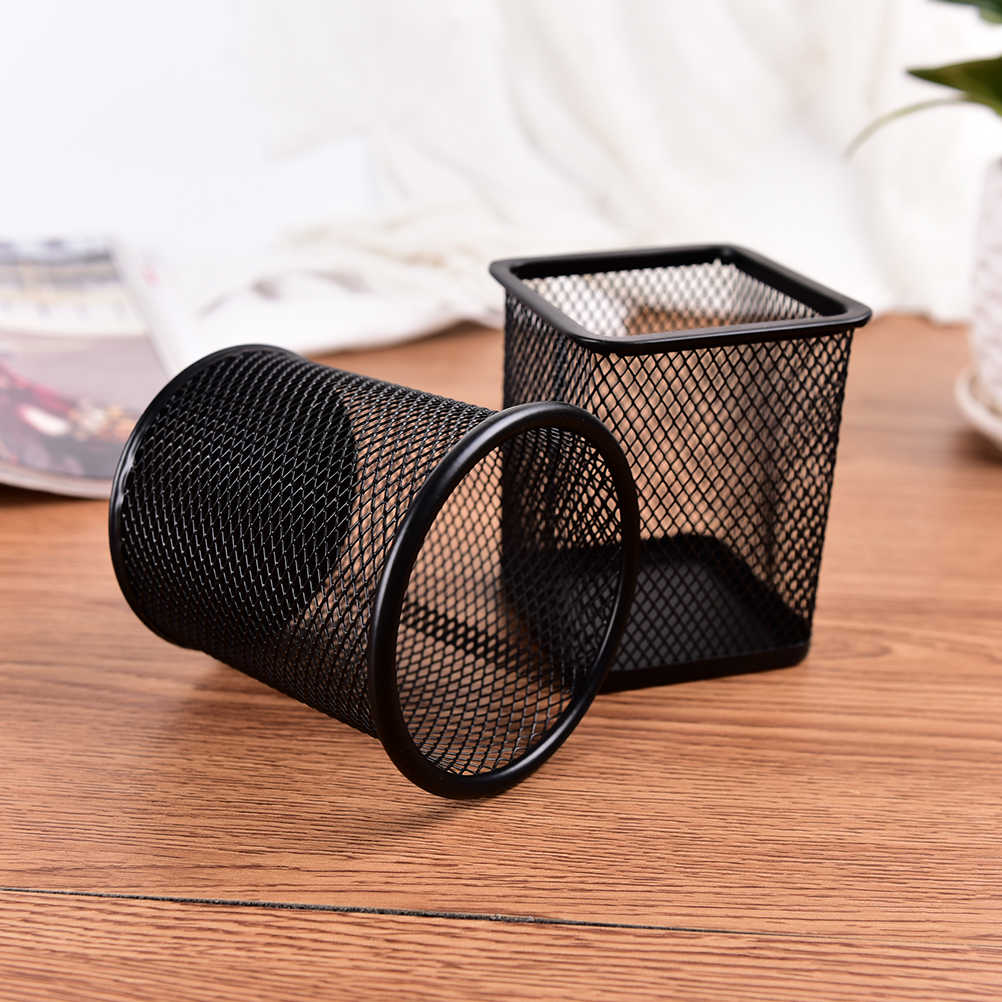 Hot Koop 1Pc Black Metal Stand Mesh Stijl Pen Potlood Liniaal Holder Desk Organizer Opslag