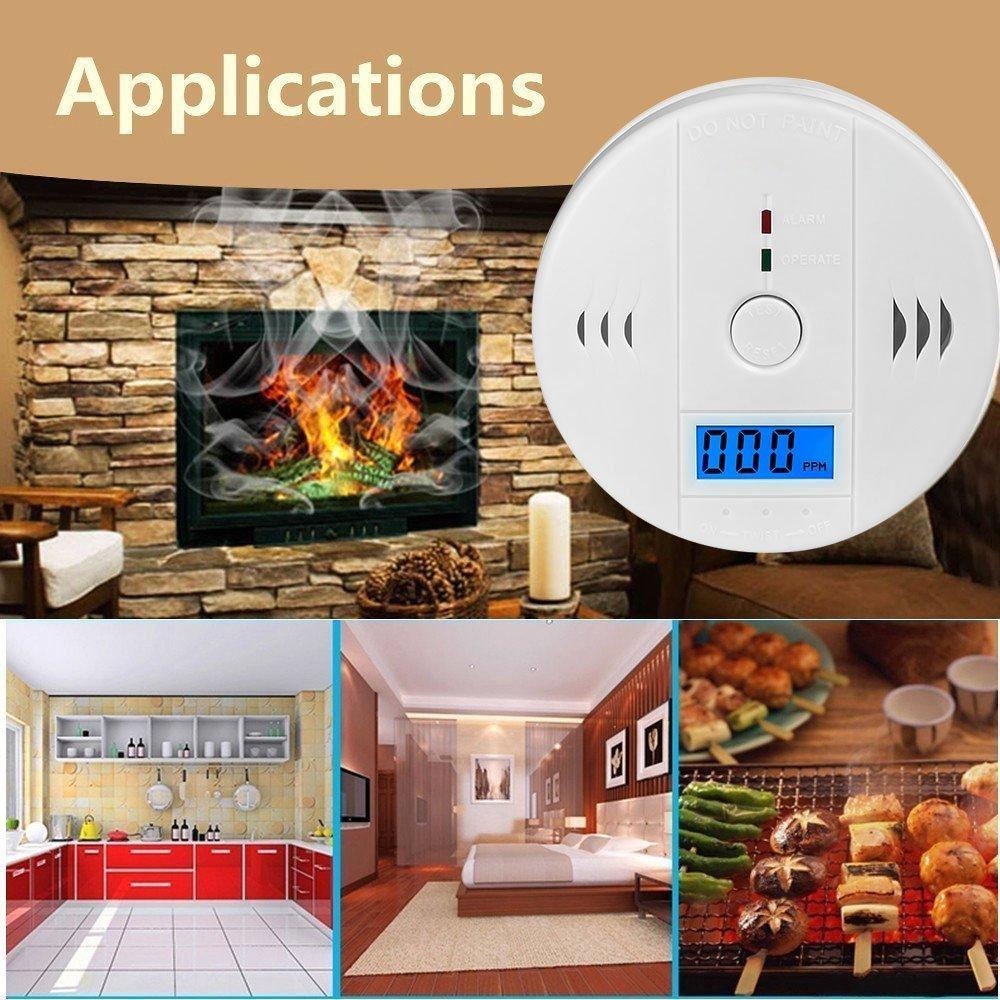 El Sensor de CO LCD funciona solo el Detector de alarma de advertencia de intoxicación por monóxido de carbono independiente con sonido de sirena integrado 85dB