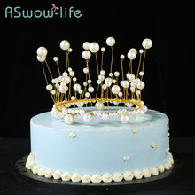 Birthday Cake Decoration Crown Cap Creative Handmade Pearl Accessories For