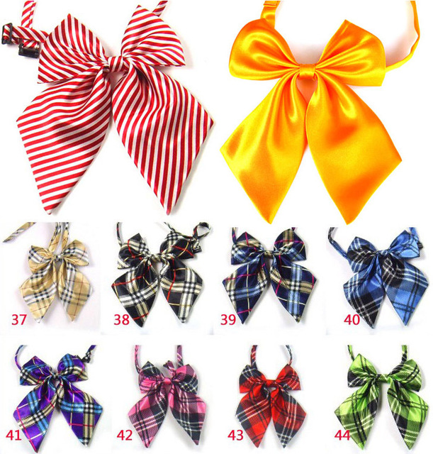 New Arrivals Girls Pre-Tied Adjustable Bow Ties Women Bowties Stripe Tie Women Neck Wear Free Shipping 50 pcs