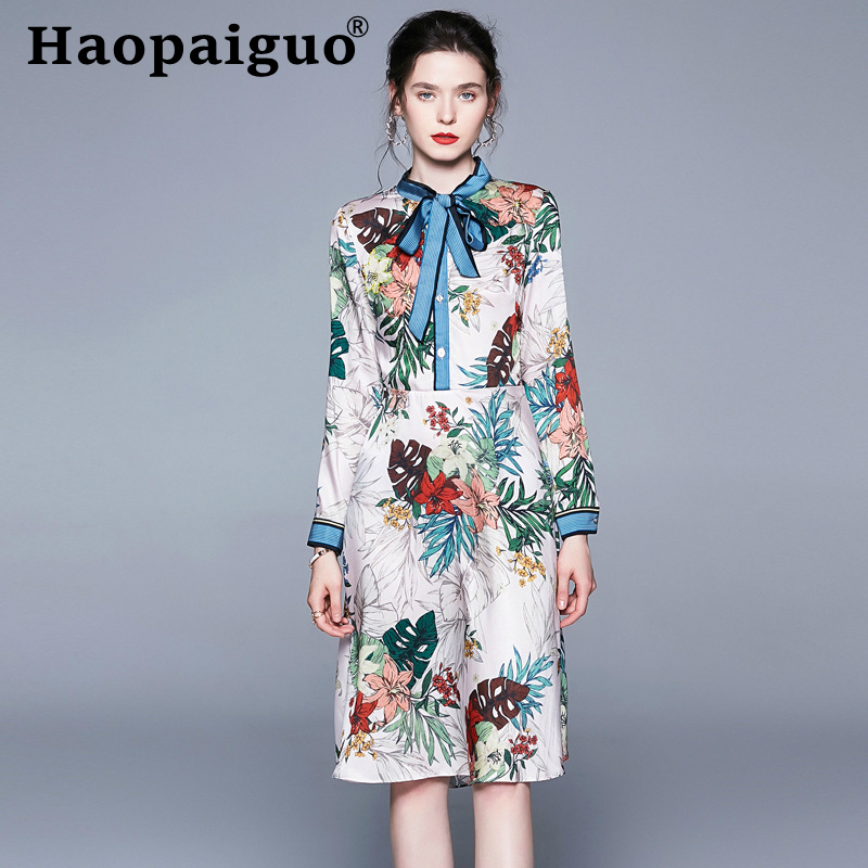 S-XL-XXL Plus Size Print Floral Dress Summer 2019 Stand Long Sleeve Chiffon Women with Bow Casual Vintage Robe