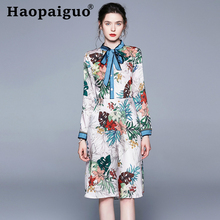 S-XL-XXL Plus Size Print Floral Dress Summer 2019 Stand Long Sleeve Chiffon Dress Women with Bow Casual Vintage Dress Women Robe carp tale 2019 hot sales women o neck long sleeve long summer casual dress plus size m l xl xxl vintage maxi dress with pockets