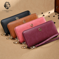 LAORENTOU Women Cow Leather Long Wallets 2017 New Fashion Wallet Retro Lady Wallet Simple Stylish Women