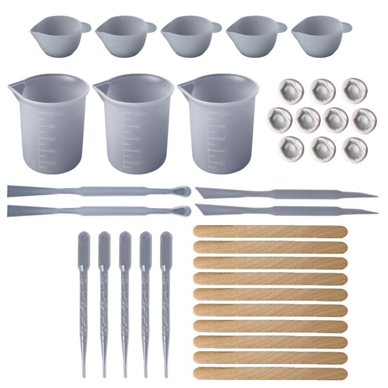 1 Set DIY Epoxy Resin Tools Measure Cups Silicone Cup Mix Stick Wooden Sticks Dropper Adjustment Adjuster Jewelry Making Handmad