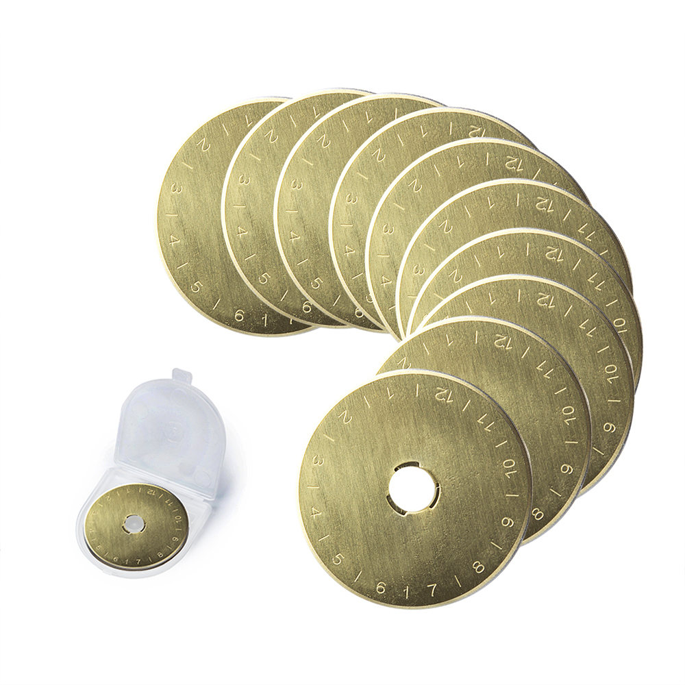 10Pcs 45mm Titanium Coated Rotary Cutter Blades, Perfect For Cuts Fabric, Sewing, Leather And Paper