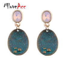 MloveAcc Vintage Hanging Drop Dangle Earrings for Women Crystal Opal Antique Geometric Pendant Ear Brand Fashion