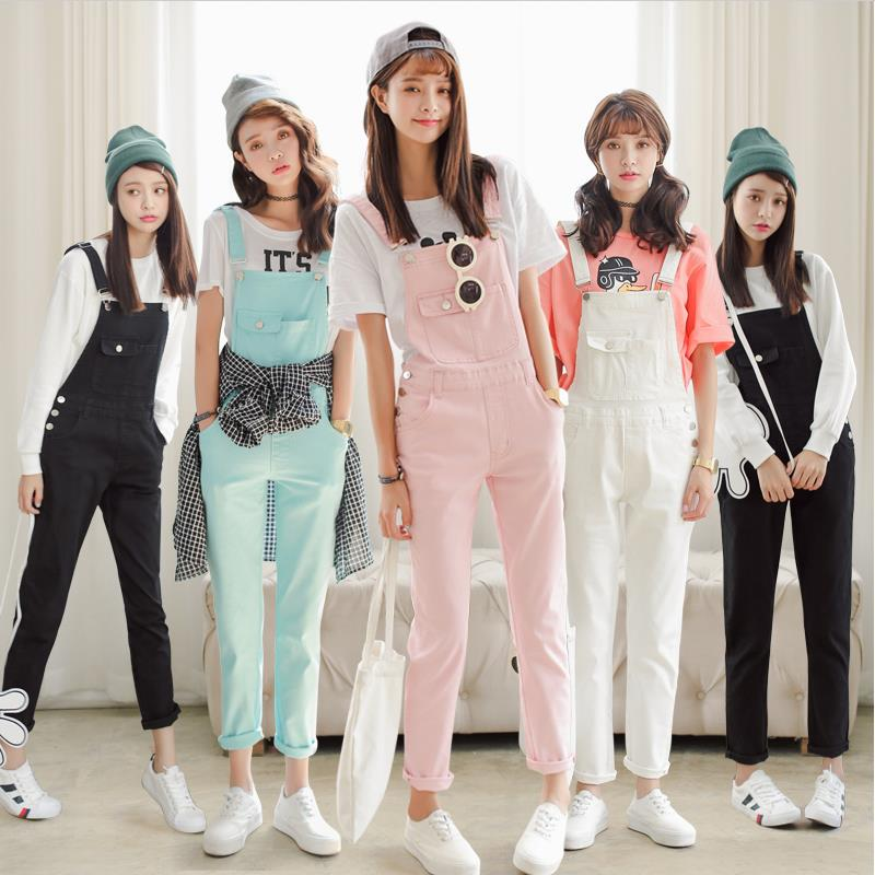5f7d38f7dd87 Free Shipping 2018 Summer Spring Denim Jumpsuits Women s Overalls Pants  Ladies  Jeans Candy Color Rompers Female Suspender W362-in Jeans from  Women s ...