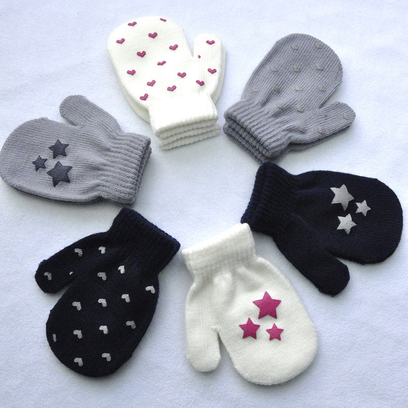 Winter 1-4 years old children's warm anti-catch bag gloves knitted heart-shaped pentagonal cute offset small gloves B49