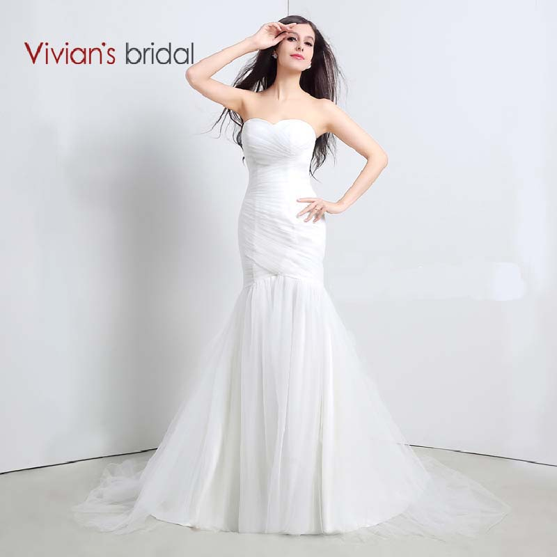 Vivian's Bridal 2016 New Chiffon Beaded Wedding Dress Mermaid Split Front Wedding Gown In Stock Under 100 ZTC25