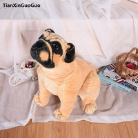 large 53cm simulation pekingese dog plush toy squatting pug soft doll throw pillow birthday gift h2323