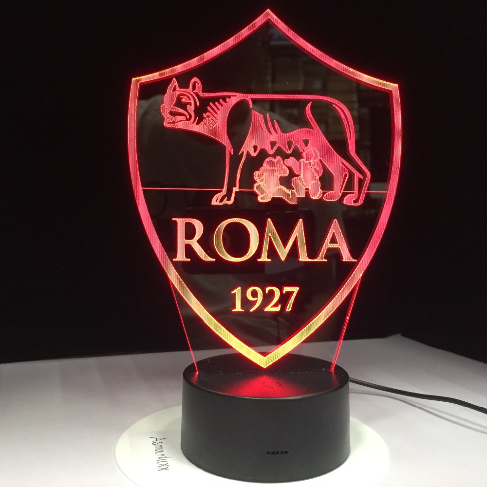 Print AS Roma 3D LED Lamp USB 3AA Battery Night Lamp with 7 Colors Change Remote Touch Switch Lava Lamp Decorations Gift for Fan