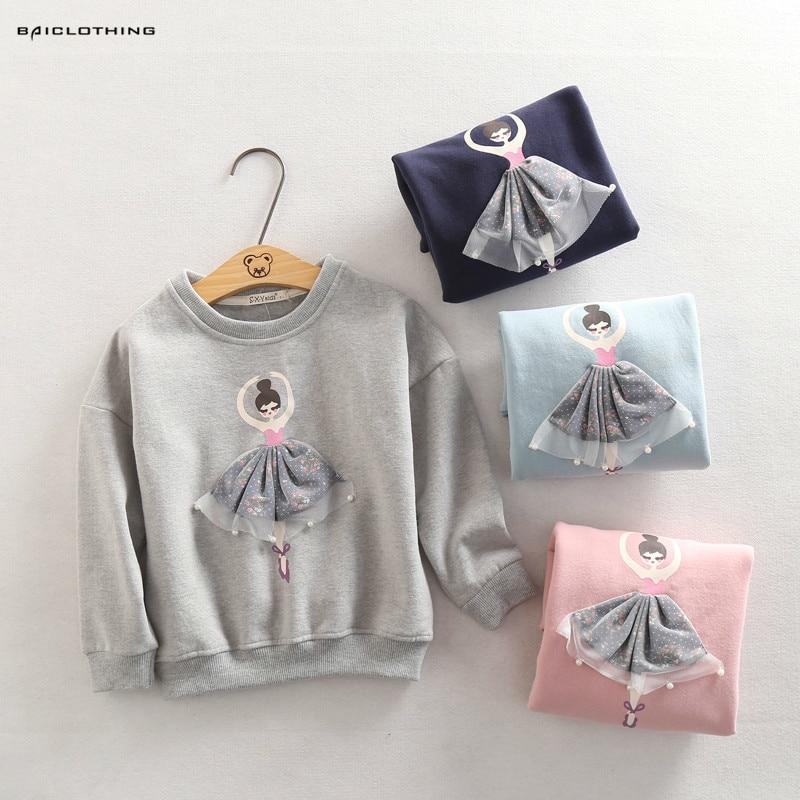 2016 New Fashion Kids Autumn Girls Tops Cartoon Pattern Sweaters Girls Tshirts Outerwear Children Clothing High Quality 2018 new fashion girls sweaters 2 6years children clothing c8069