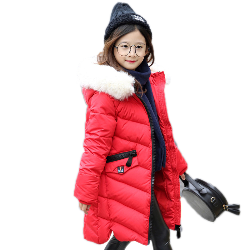 girls winter jackets coats 2017 thicken warm hooded snowsuits coats for girls long section white duck down kids parka -35 degree new winter baby girls clothes white duck down parka warm goose down jackets for kid warm long coats big fur hooded for children