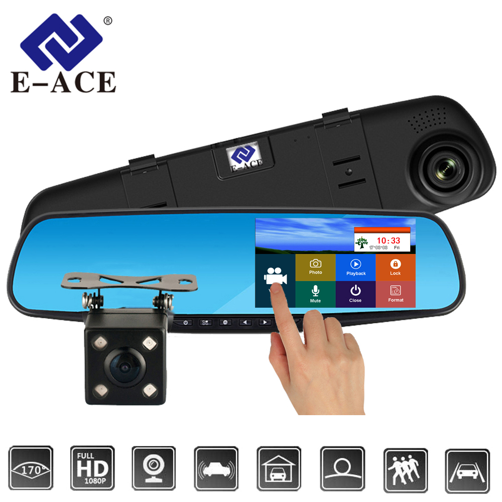 E-ACE Full HD 1080P Car Dvr Camera Auto 4.3 Inch Touch Rearview Mirror Digital Video Recorder Dual Lens Registratory Dash Camera e ace car dvr 5 inch camera full hd 1080p dual lens rearview mirror camcorder auto video registrator dvr recorder dash cam
