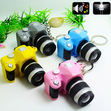 Cute Mini Digital Single Lens Reflex DSLR Camera Style LED Flash Light Keychain(China)