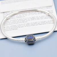 Top Quality Pave Barrel Clasp Crystal Snake Chain Bracelet Bangle Fit Women Pandora Bead Charm 925 Sterling Silver DIY Jewelry