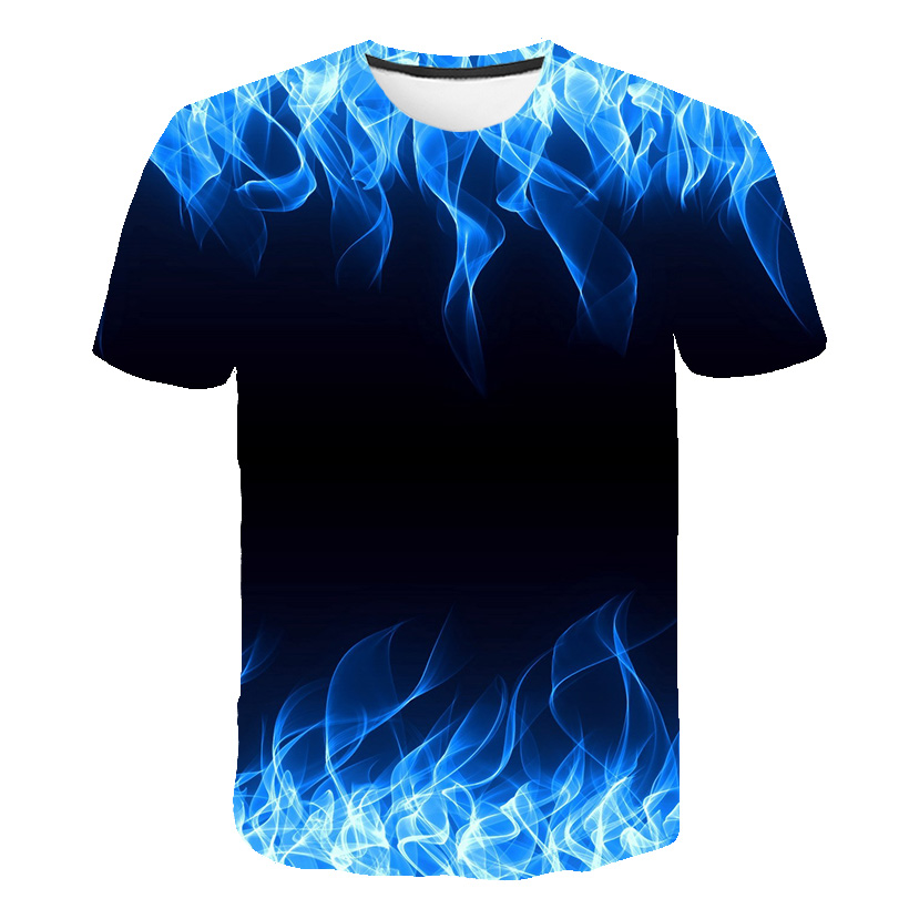 Hot Sale Blue Flaming tshirt Men   t     shirt   3d   t  -  shirt   Black Tee Casual Top Anime Camiseta Streatwear Short Sleeve Cloth Drop Ship