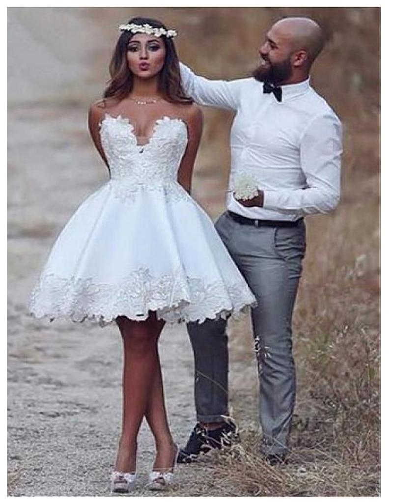 Short Informal Strapless Wedding Dress 2019 Beach Bride Dress Knee Length Hot Sale White Ivory Wedding Gowns