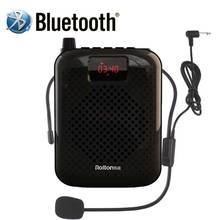Rolton k500 bluetooth megafone amplificador de voz portátil banda cintura clipe suporte rádio tf mp3 para guias turísticos, coluna professores