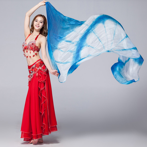 100% Silk Performance Belly Dance Accessories Double Colors Tie Dye Light Texture White Scarf 2.5 Meters Women Silk Veil Dance
