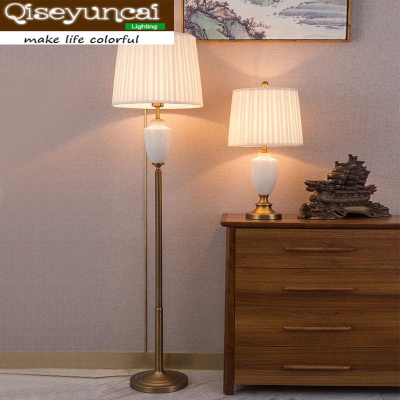 Qiseyuncai 2018 new American ceramic copper lamp atmospheric villa living room study bedroom crystal lighting ...
