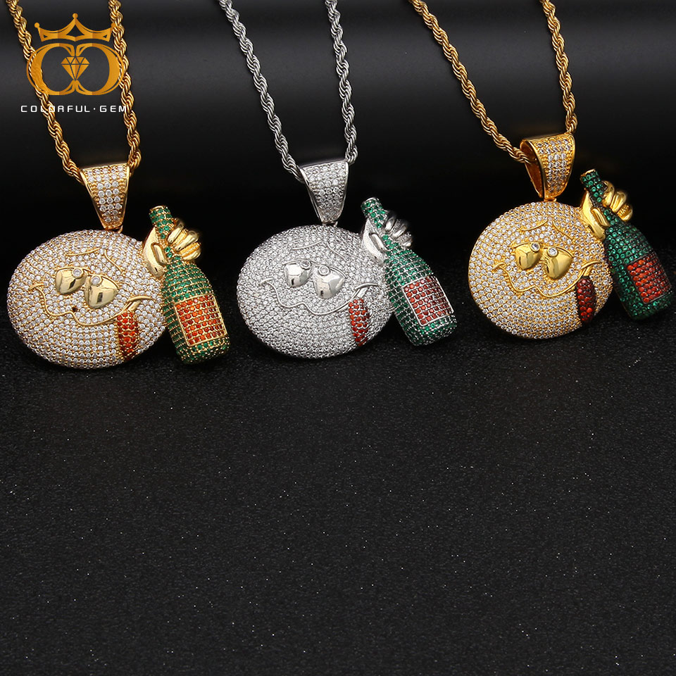 colorful.gem Hip hop Jewelry Iced Out Emoji Face With Wine bottle Pendant Necklace Gold Silver Color Cubic Zircon Copper Men's