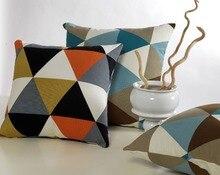 Diseño Vintage colorido fundas de colchón Geometic triángulo Canvas funda de almohada almohada decoración para el hogar 4 tamaño elegir
