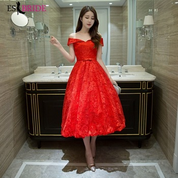 Red Evening Dresses Fashion Boat-neck Sexy Lace Appliques Arabic Sexy Evening Dress Party Formal Elegant Evening Gown ES2652