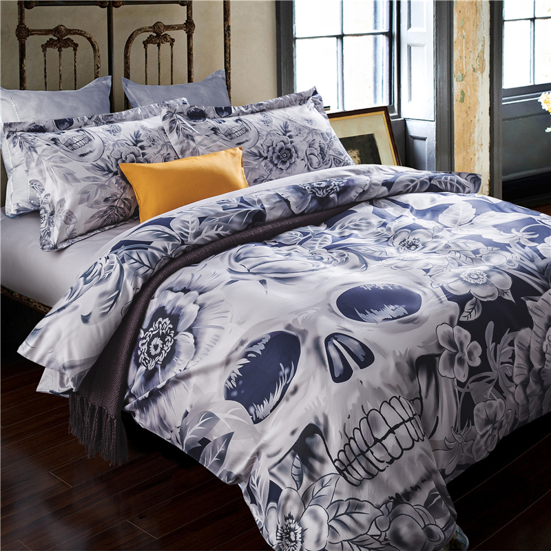 60s Hd Digital Quality Bedding Set Queen King Size Bed Sheet Linen Cool Idea Unique Skull 100 Cotton Duvet Cover Sets 4pcs In From Home