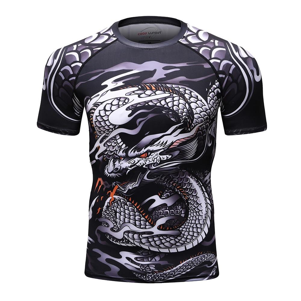 New men's compression   t     shirt   men Fashion Dragon print Quick-drying short sleeves Rashguard BJJ Cross Fit Fitness Tights tshirt