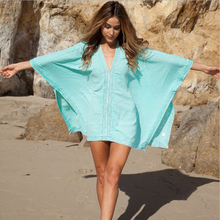 2016 Fashion women Elegant Vintage sweet white Dress stylish bikini blouse with beach dress is prevented bask in clothes