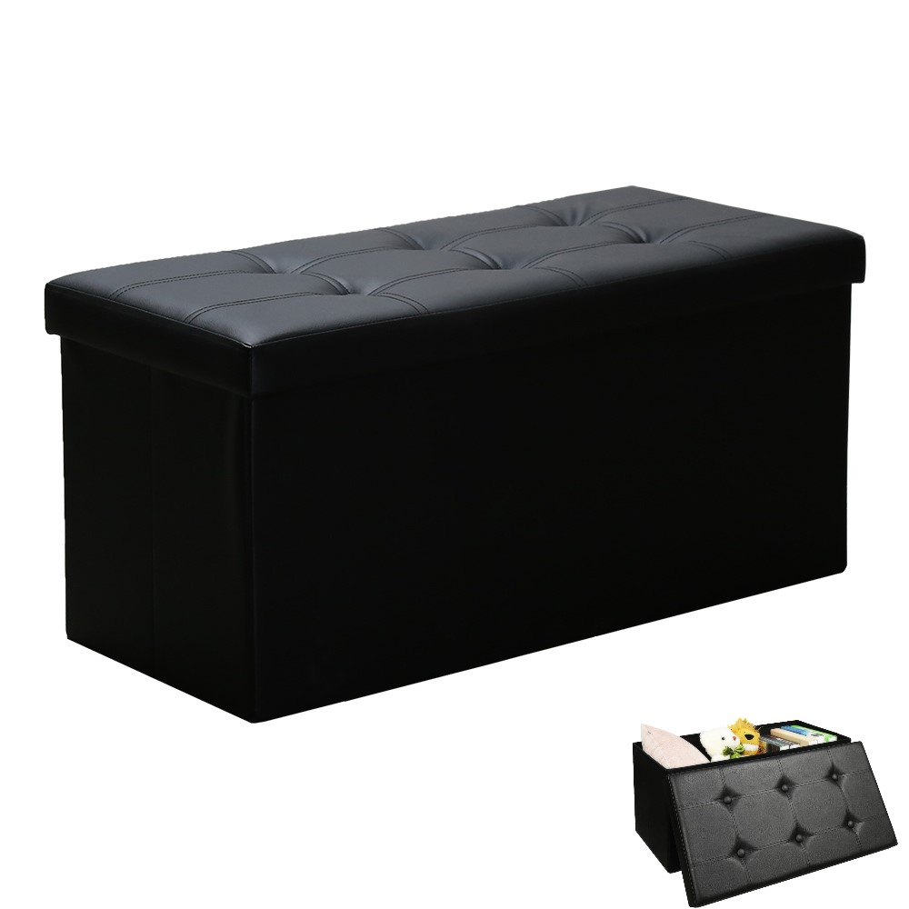 Black 76x38x38cm Storage Bench Stool Storage Box Chair Chaise Waterproof Shoe Bench Footstool with Storage Space Removable Lid guidecraft classic white storage bench