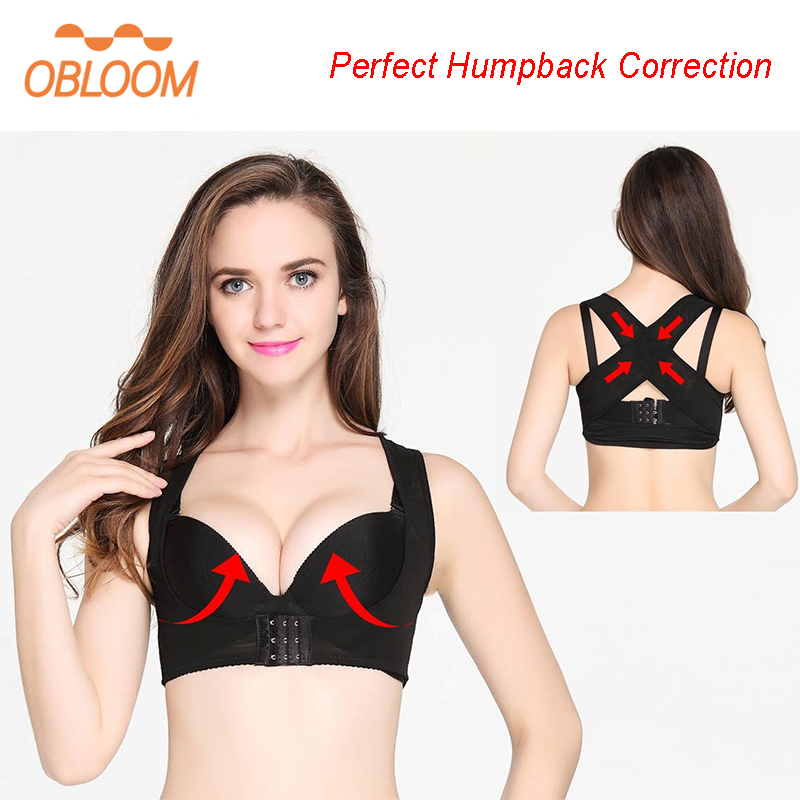 <font><b>Humpback</b></font> Women Back Posture Corrector Shoulder Support Correction Belt Shaper Back Corset Bra Cross Vest Straightener HealthCare image