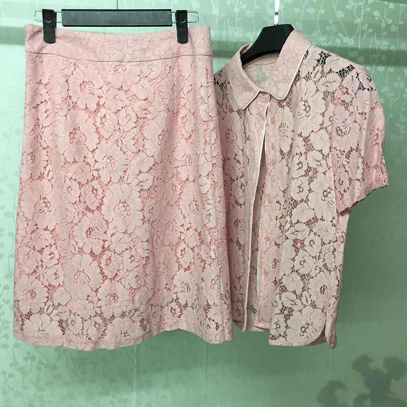 Women Skirt Set Elegant Lace 2 Piece Sets Women Skirt And Blouse Pink Lace Suit 2019