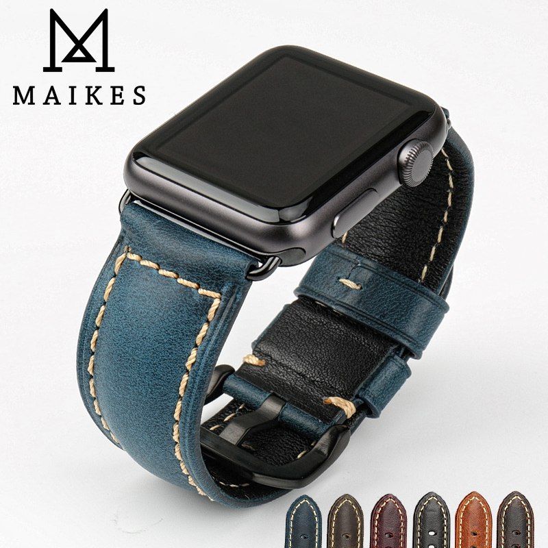 MAIKES Watch Accessories Blue Fashion Genuine Leather Watch Strap Wristband For iwatch 38mm Apple Watch Band 42mm Watchbands