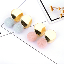 2018 new fashion temperament earrings cute candy color geometric jewelry womens short paragraph