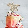 パーソナライズ歓迎ああベビーケーキトッパー、木材シルバーゴールドミラーパーソナライズ CakeTopper 子供の誕生日ベビーシャワーの装飾