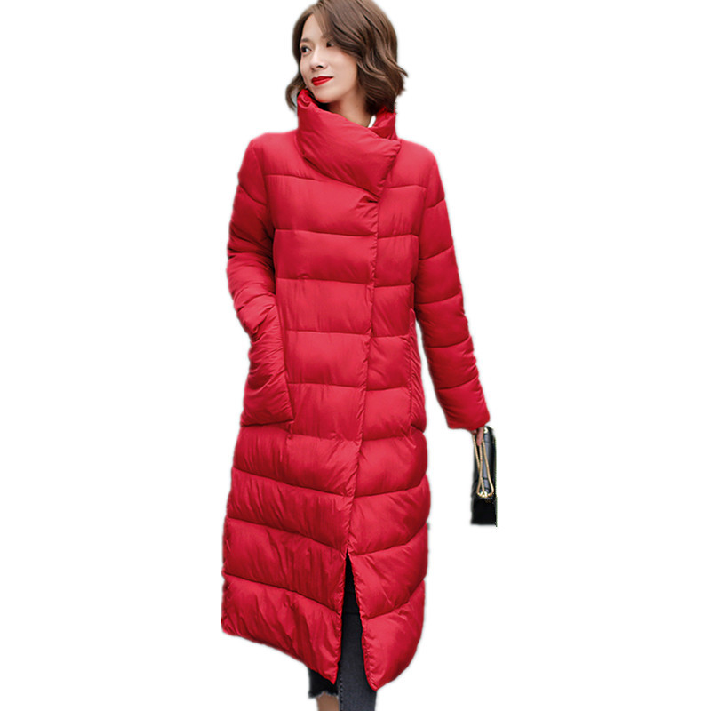 Thick Stand Collar Warm Covered Button Padded Winter Coat Women Long Cotton Jacket Outerwear Casual Parka Women's Jackets TT3505 four flowers print warm thick cotton padded long coat autumn new casual slim jacket women winter casual outerwear