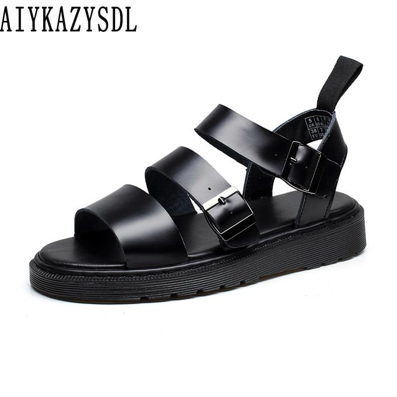 AIYKAZYSDL Women Real Genuine Leather Sandals Unisex Thick Sole Gladiator Rome Sandals Flat Platform Shoes Wedge Heels 35 44