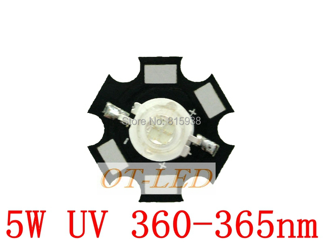 Freeshipping! 5W UV/Ultra Violet High Power LED 360-365NM with 20mm Star Heatsink for killing bacteria/identify currency