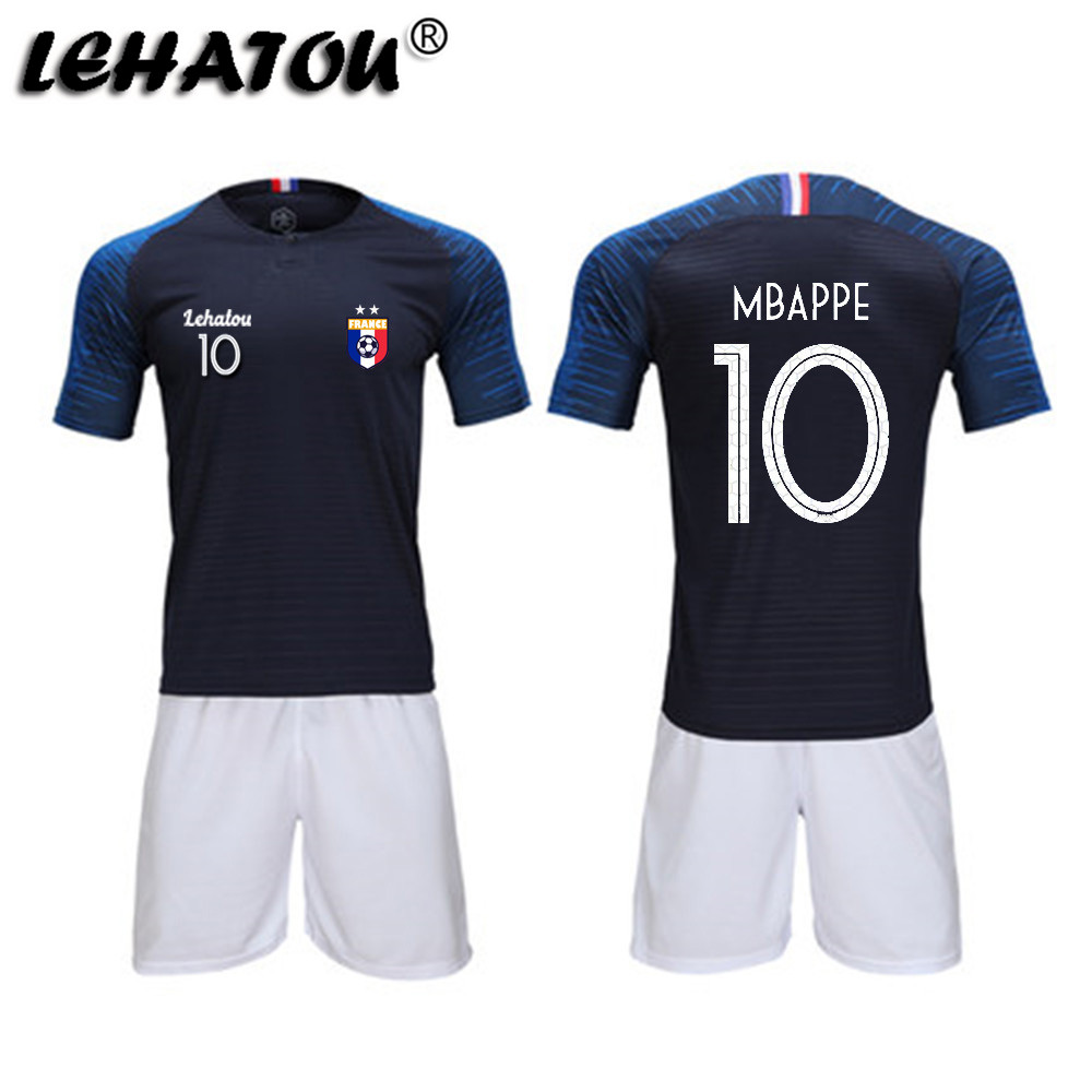 8866bb0ee Soccer Jersey France Men Football Sets Adults Soccer Shirts Top Quality  MBAPPE GRIEZMANN POGBA 2 Stars