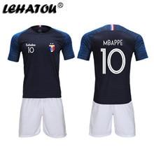 b7019785e Soccer Jersey France Men Football Sets Adults Soccer Shirts Top Quality  MBAPPE GRIEZMANN POGBA 2 Stars Training Jerseys Man Kits