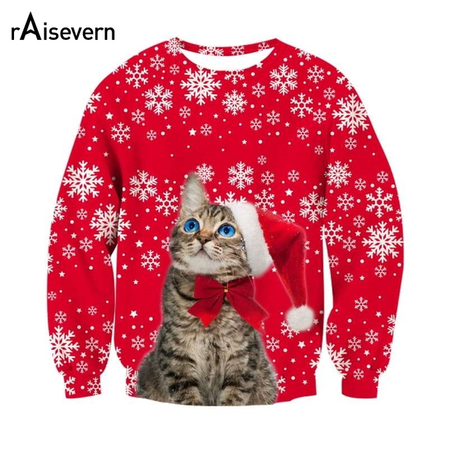 dff2a76c92c9 Raisevern Christmas Cat With Bow Red 3D Sweatshirts Funny Snow Print  Tracksuits Outerwear Unisex Pullover Tops Dropship