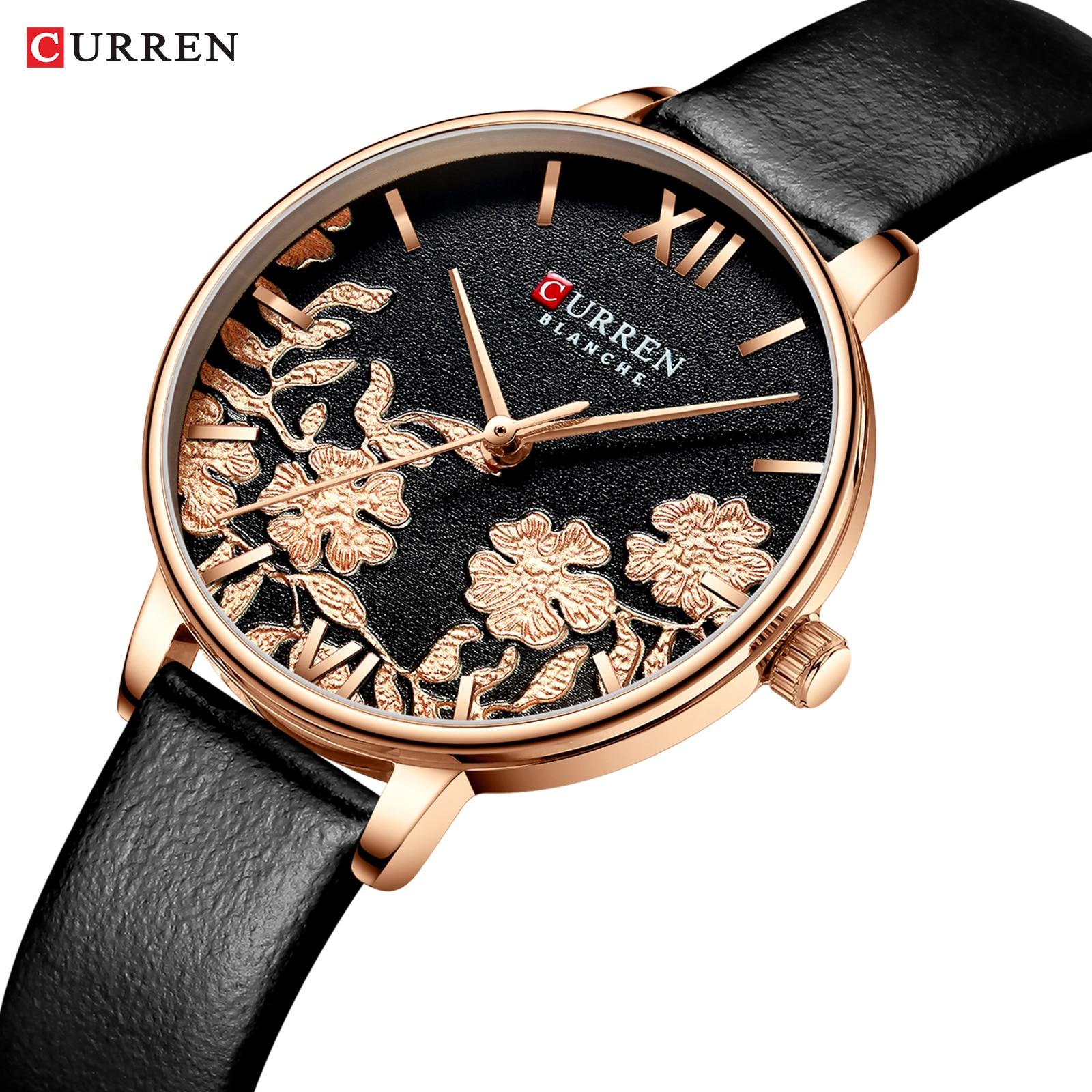 CURREN Leather Women Watches 2019 Beautiful Unique Design Dial Quartz Wristwatch Clock Female Fashion Dress Watch Montre Femme