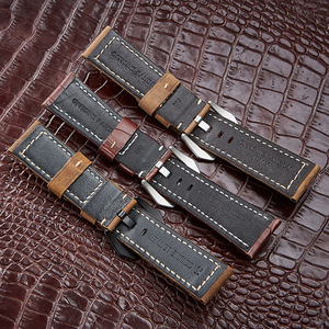 Image 5 - Top Watchbands Leather Watch Bracelet for Panerai Samsung Super Quality Genuine Leather Strap 20mm 22mm 24mm 26mm Steel Buckle