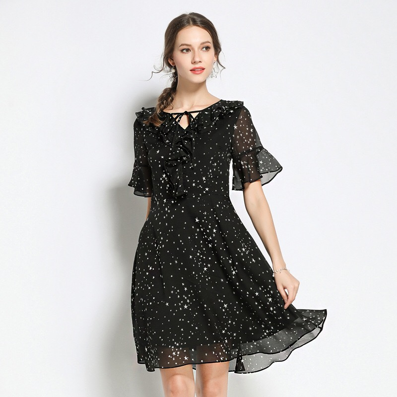 2018 Elegant Chiffon Dress Stars Loose Maternity Clothes Casual Pregnancy Dress Summer Ruffles Boat Neck Bow Plus Size M-5XL