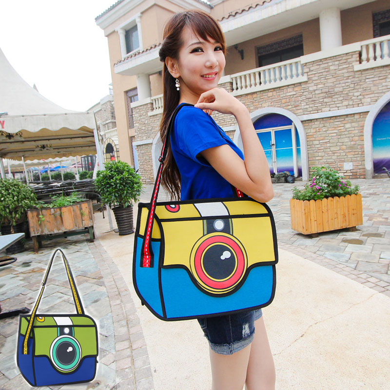 2017 Fashion Animation Cartoon Bag 2d Three Dimensional Women S Handbag Messenger Shoulder Bags Colorful Camera Free Shipping In From