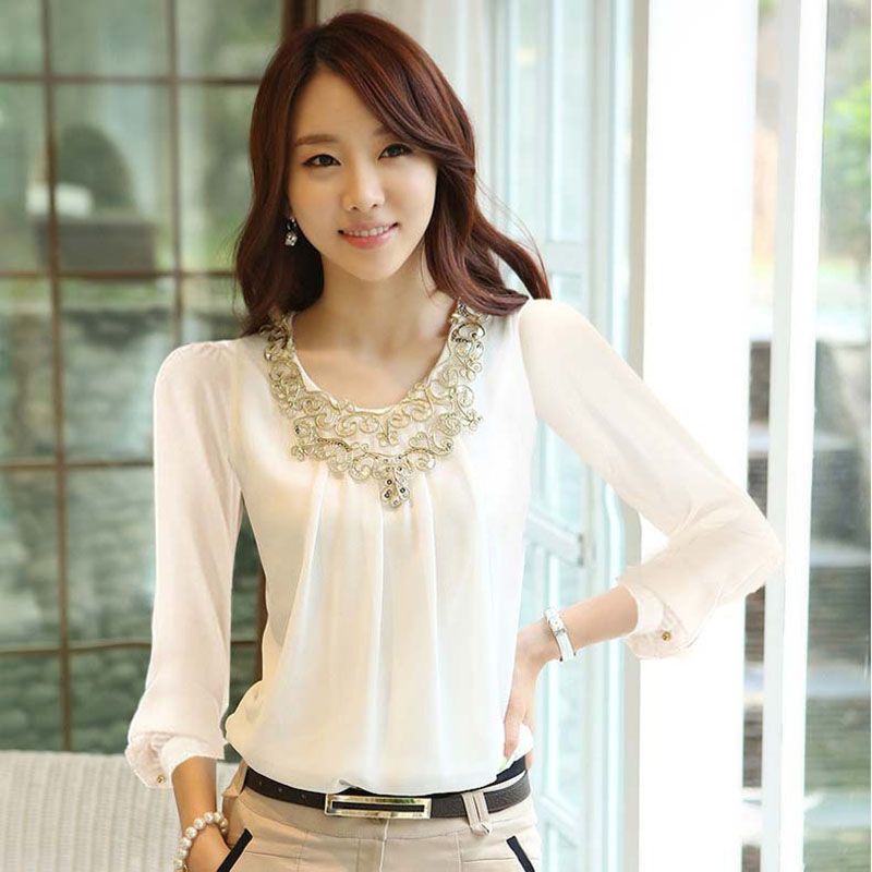 Compare Prices on White Ladies Shirt Blouse- Online Shopping/Buy ...
