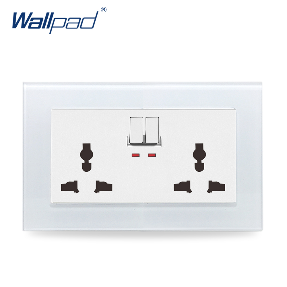 146 Double Universal Switched Socket Wallpad Luxury Crystal Glass Panel 110V-250V 146*86mm 2 Universal Switched Socket with LED 146 double 13a uk switched socket wallpad crystal glass panel 110v 250v 146 86mm uk standard wall socket plug power outlet
